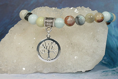 Amazonite Diffuser Tree of Life  Bracelet - Enchances Intuition
