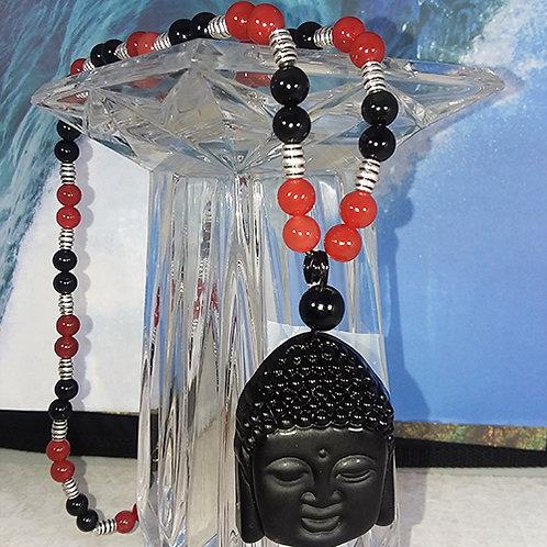 Buddha Head Carnelian & Black Obsidian Bracelet  - Releases Negativity