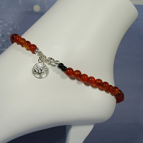 Carnelian with Tree of Life Ankle Bracelet - Love
