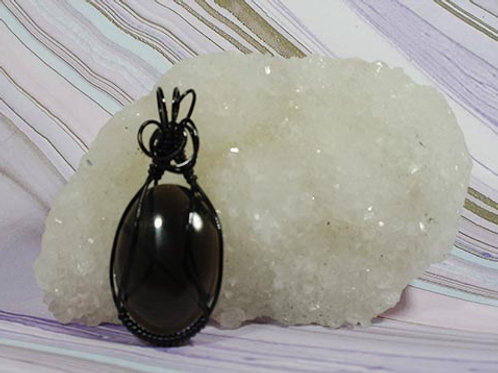 Black Obsidian Wire Wrapped Pendant - Grounding