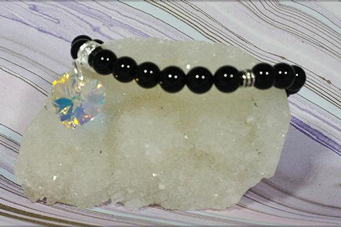 Black Onyx  Swarovki Heart Bracelet - Grounding
