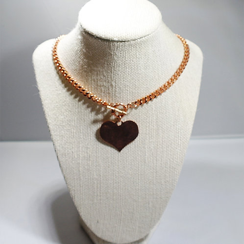 Copper Curb Chain Necklace with Copper Heart