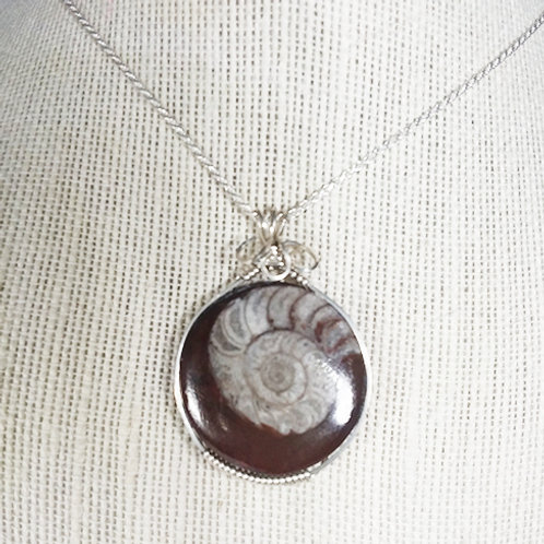 Ammonite Fossil Wire Wrapped Pendant - Awakens the Kundalin Energy emotions