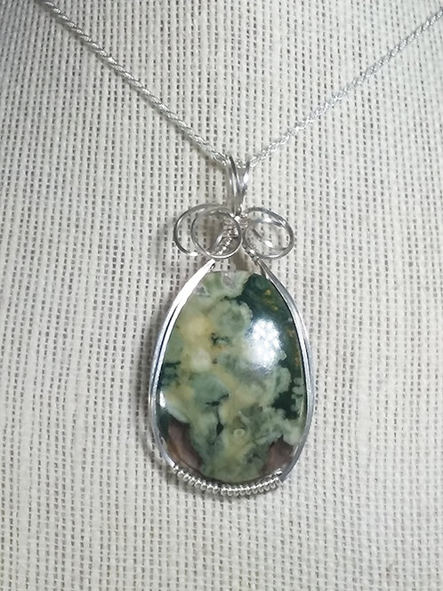 Green Ocean Agate Wire Wrapped Pendant -Improves decision making