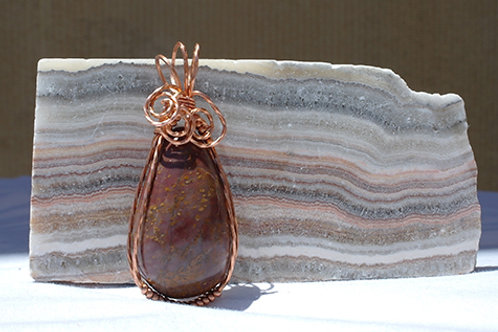 Red Jasper Wire Wrapped Pendant - Grounding