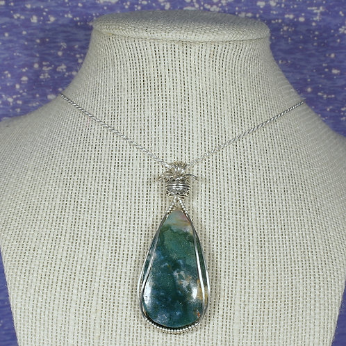 Green Ocean Agate Wire Wrapped Pendant  - Improves Decision Making