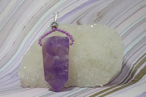Amethyst Terminated Crystal point Pendant  - Meditation