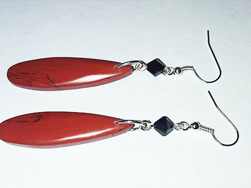 Red River Jasper Sterling Silver Earrings with Swarovski Crystals