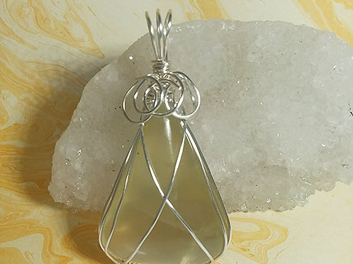 Large Citrine Wire Wrapped Pendant - Prosperity