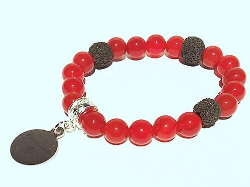 Carnelian Swarovski Heart Bracelet  - Releases Negativity