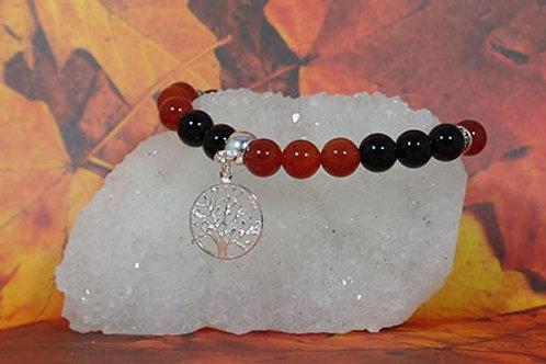 Carnelian & Black Obsidian Bracelet  - Releases Negativity