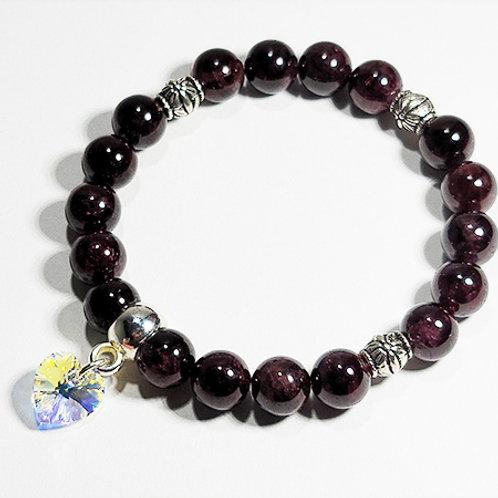 Garnet Bracelet with Swarovski Heart  Charm