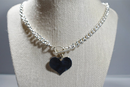Sterling Silver Curb Chain Necklace with SS Heart