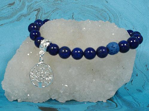 Lapis Lazuli Tree of Life Diffuser Bracelet - Meditation