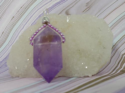 Amethyst Double Terminated Crystal point Pendant  - Meditation