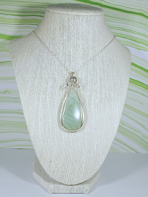 Lime Agate Wire Wrapped Pendant  - Improves Decision Making