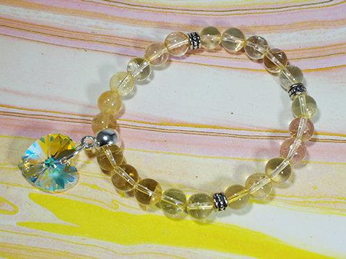 Citrine Swarovski Heart Bracelet - Prosperity