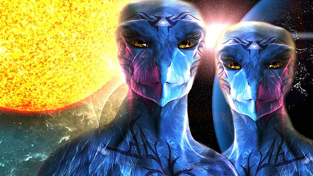 blue avian aliens