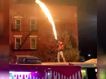 Black Lives Matter Protester Ignites Flame Thrower on Top of New York City Bus!