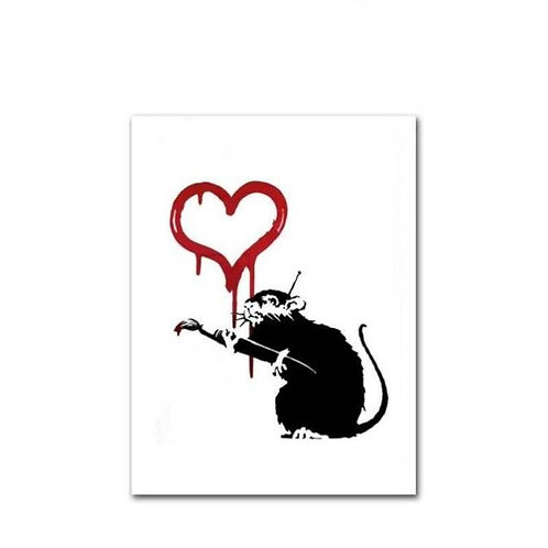 BANKSY - LOVE RAT - CANVAS PRINT
