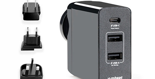 mbeatGorilla Power 45W USB-C Power Delivery (PD 2.0) and Dual USB-A World Plugs