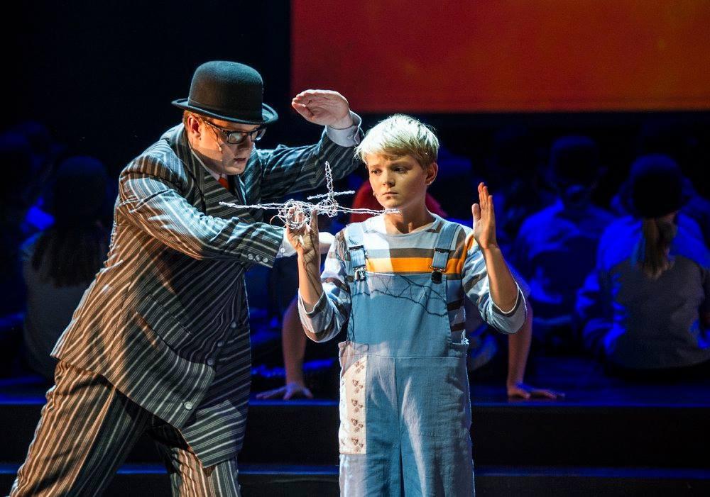 "Boy soprano Aksel Rykkvin and Espen Langvik in ""Der Jasager""."