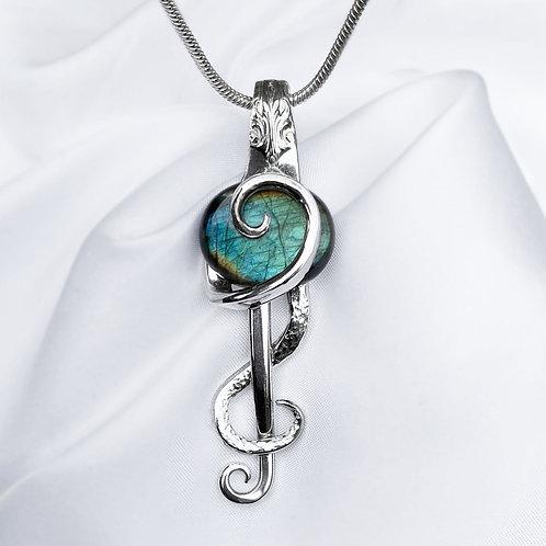 Sterling & Labradorite Music Fork Pendant
