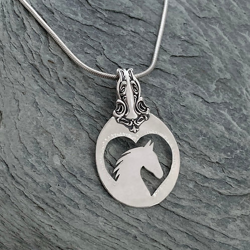 Horse Sterling Silver Spoon Pendant