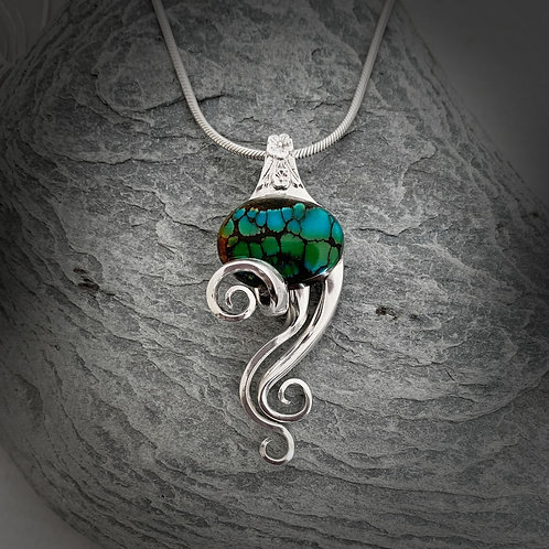 Turquoise sterling silver fork pendant