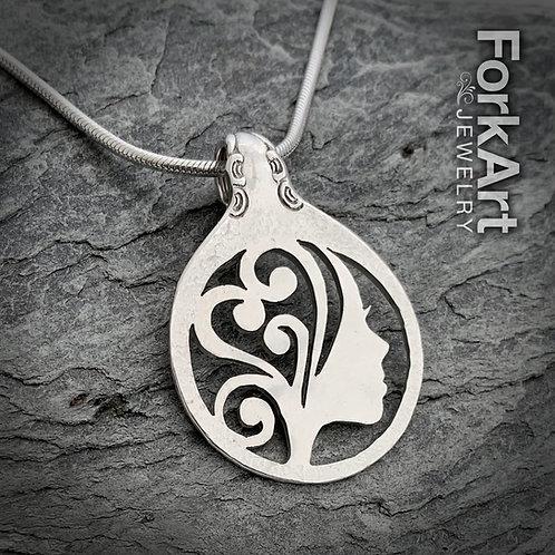 Female Silhouette & Heart Sterling Silver Spoon Pendant