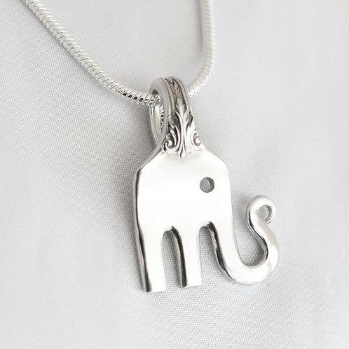 Elephant Sterling Silver Fork Pendant