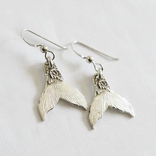 Mermaid or Whale Tail Sterling Earrings