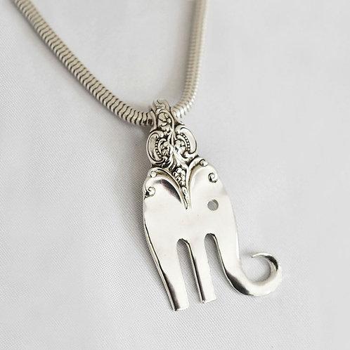 Ornate Elephant Sterling Silver Fork Pendant