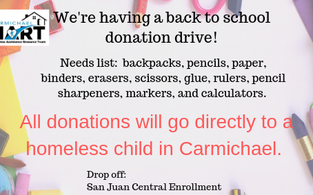 Carmichael HART  School Supplies Drive!