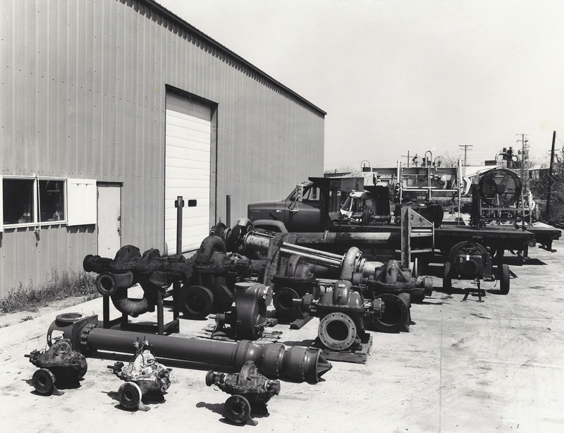 Pump repair projects lined up at the old shop in the early days