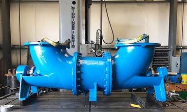 Goulds Pump, Axial Flow, Model DEAF on our Horizontal Boring Mill with outriggers. We have both horizontal and vertical boring mill capability