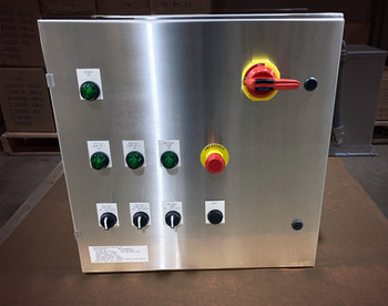 An industrial UL pump panel for process automation in a corrosive environment.