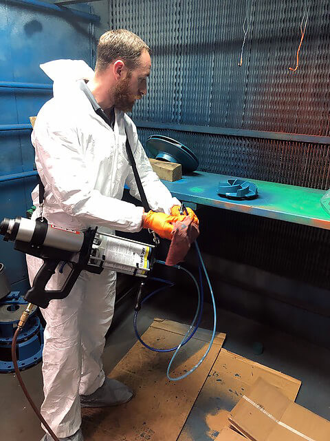 Applying Industrial Coating to a Pump Impeller