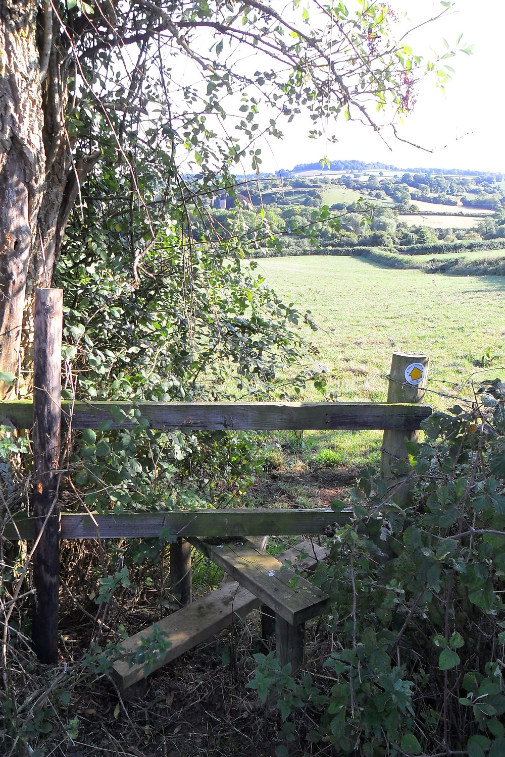 A wooden stile with a view across a country valley