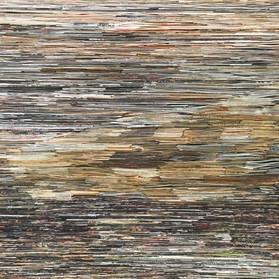 Fog, Folded paper on plywood, 60x115cm,