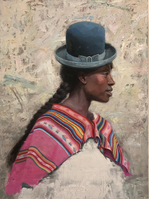 """Afro Bolivian"" Mixed media 40/30""  100/"