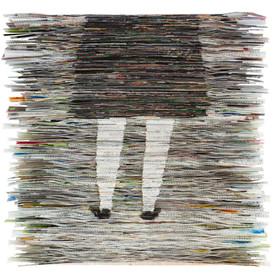 Dress, Folded paper on plywood,48x50cm,