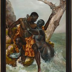 """Yemaya and Erinle"", 2019 Oil on Linen  48"
