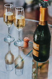 Stock image, champagne bottle and flutes