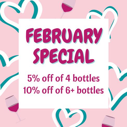 5% off of 4 bottles 10% off of 6+ bottle