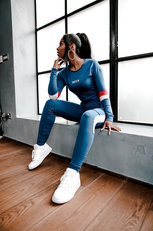 Women's Cropped Tracksuit - Midnight Blue