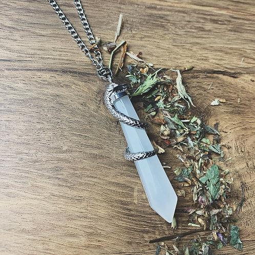 clear quartz serpent necklace