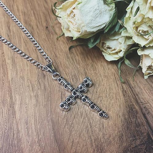 skull crucifix necklace