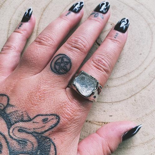 rough cut clear quartz ring