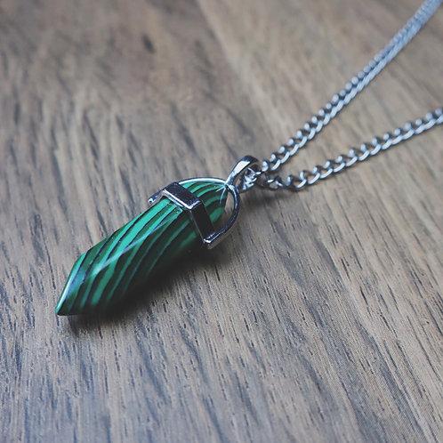 malachite goddess necklace